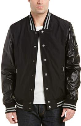 Moose Knuckles Heath Leather-Sleeve Club Jacket
