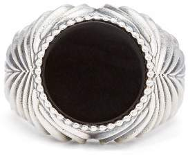 Emanuele Bicocchi Onyx Sterling Silver Ring - Mens - Silver