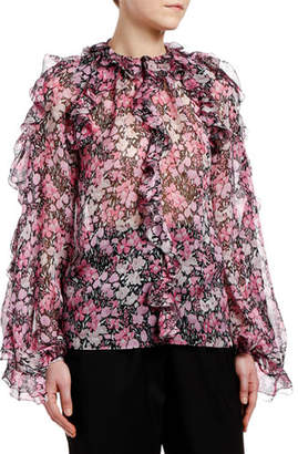 Giambattista Valli Ruffled-Shoulder Floral-Print Chiffon Blouse