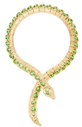 Gucci Crystal Embellished Snake Necklace - Womens - Green