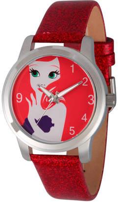 Disney The Little Mermaid Womens Red Strap Watch-Wds000075