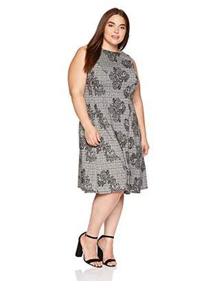 London Times Women's Plus Size Sleeveless Round Neck Ponte FIT & Flare Dress
