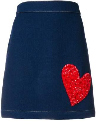 House of Holland heart embroidered denim skirt