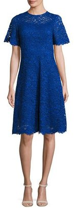 Rickie Freeman for Teri Jon Short-Sleeve Lace A-Line Cocktail Dress, Royal $560 thestylecure.com