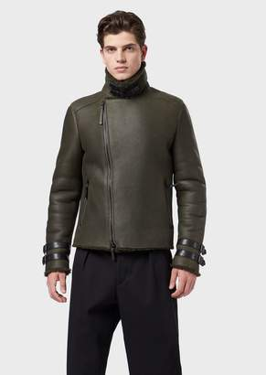 Emporio Armani Shearling Jacket With Curly Merino Wool On The Inside