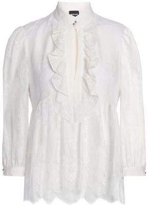 Just Cavalli Ruffled Cotton-Blend Lace Blouse