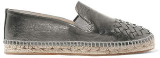Bottega Veneta Metallic Intrecciato Leather Espadrilles - Gunmetal