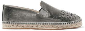 Bottega Veneta Metallic Intrecciato Leather Espadrilles - Gunmetal