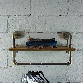 OS Home and Office Model P27-BB 27 inch Decorate Pipe Shelf and Clothes Rack with Reclaimed-Aged Wood Finish.