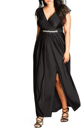 City Chic Plus Flirty Drape Maxi Dress