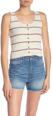 Madewell Striped Rib Knit Button Front Tank Top
