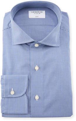 Lorenzo Uomo Men's Fashion Gingham Dress Shirt