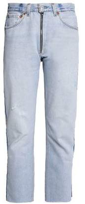 Levi's Re/Done By Zip-Detailed Distressed High-Rise Straight-Leg Jeans