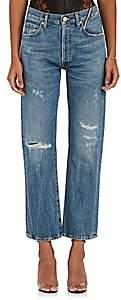 Atelier Jean Women's Laurent Boyish Distressed Straight Jeans - Md. Blue