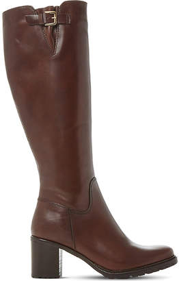 Dune Ladies Brown Classic Todd Cleated-Sole Leather Boots
