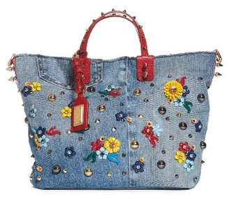 Dolce&gabbana Small Embellished Denim Tote - Blue $2,945 thestylecure.com
