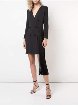 ADAM by Adam Lippes Stretch Crepe Tuxedo Mini Dress With Fringe Detail