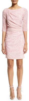 Carolina Herrera 3/4-Sleeve Gathered Sheath Dress, Pink/Multi $1,990 thestylecure.com