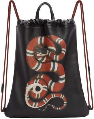 Gucci Black Snake Drawstring Backpack