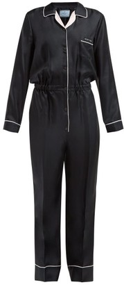 5a04867a2ad Prada Logo Patch Silk Satin Jumpsuit - Womens - Black Multi