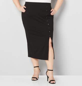 Avenue Button Front Midi Skirt