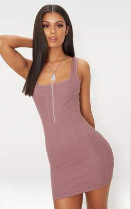 PrettyLittleThing Dark Mauve Bandage Zip Detail Square Neck Bodycon Dress