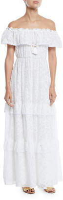 Catherine Malandrino Off-The-Shoulder Tiered Lace Maxi Dress