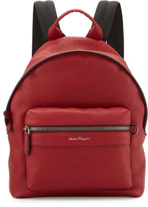 Salvatore Ferragamo Men's Firenze Grained Leather Backpack, Red