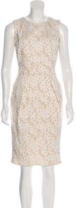 Carmen Marc Valvo Embroidered Sleeveless Dress