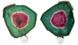 14K Watermelon Tourmaline & Diamond Stud Earrings white 14K Watermelon Tourmaline & Diamond Stud Earrings