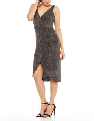 Maggy London Draped Glitter Sheath Dress
