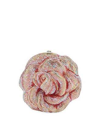 Judith Leiber Couture Rose Apricot Crystal Clutch Bag