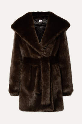 A PERDIFIATO - Melody Hooded Faux Fur Coat - Dark brown