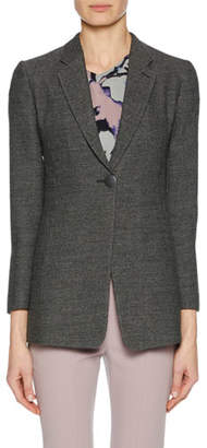 Giorgio Armani One-Button Notched-Lapel Fine Boucle Jacket