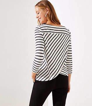 LOFT Striped Tulip Back Sweatshirt
