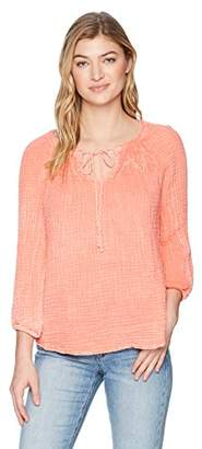 Michael Stars Women's Sun wash Double Gauze Peasant top with Smocking