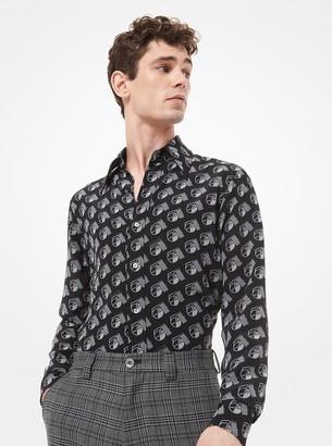 Michael Kors Studio 54-Print Silk Crepe De Chine Shirt