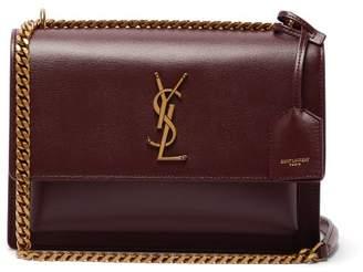 Saint Laurent - Sunset Medium Leather Cross Body Bag - Womens - Burgundy
