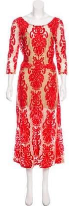 For Love & Lemons Embroidered Mesh Maxi Dress