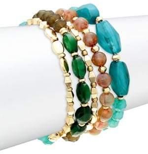Black Diamond 4-Piece Goldtone Beaded Bracelet Set