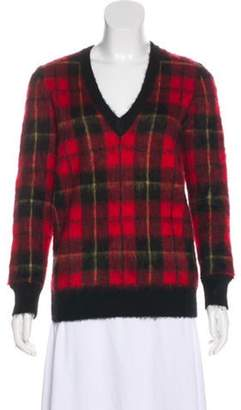 Michael Kors Plaid Mohair Sweater w/ Tags Red Plaid Mohair Sweater w/ Tags