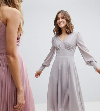 TFNC Long Sleeve Midi Bridesmaid Dress With Pleated Skirt