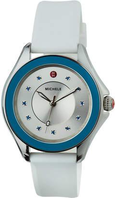 Michele Cape Topaz Watch w/Silicone Strap, Blue/White