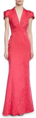 Zac Posen Party Jacquard V-Neck Cap-Sleeve Gown