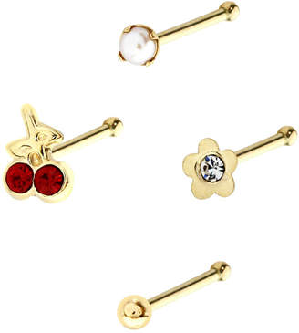Bodifine 10K Gold Pearl and Crystal Nose Studs Set of 4