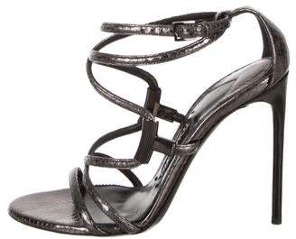 Tom Ford Embossed Ankle-Strap Sandals