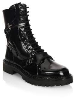 Moschino Lace-Up Leather Boots