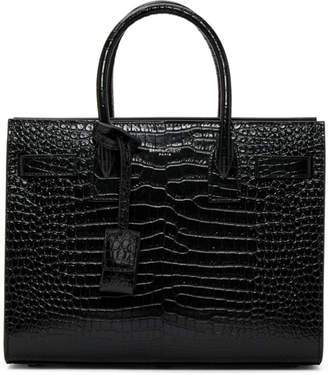 Saint Laurent Green Croc Baby Sac De Jour Tote