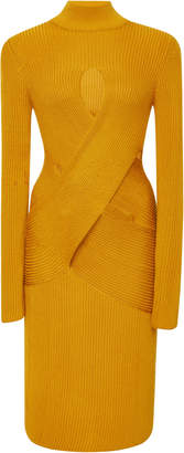 Roberto Cavalli Cutout Ribbed Wool-Blend Mini Dress