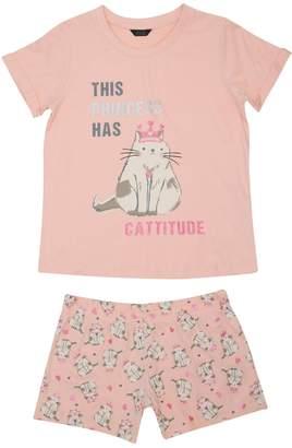 M&Co Teens' cat print pyjamas
